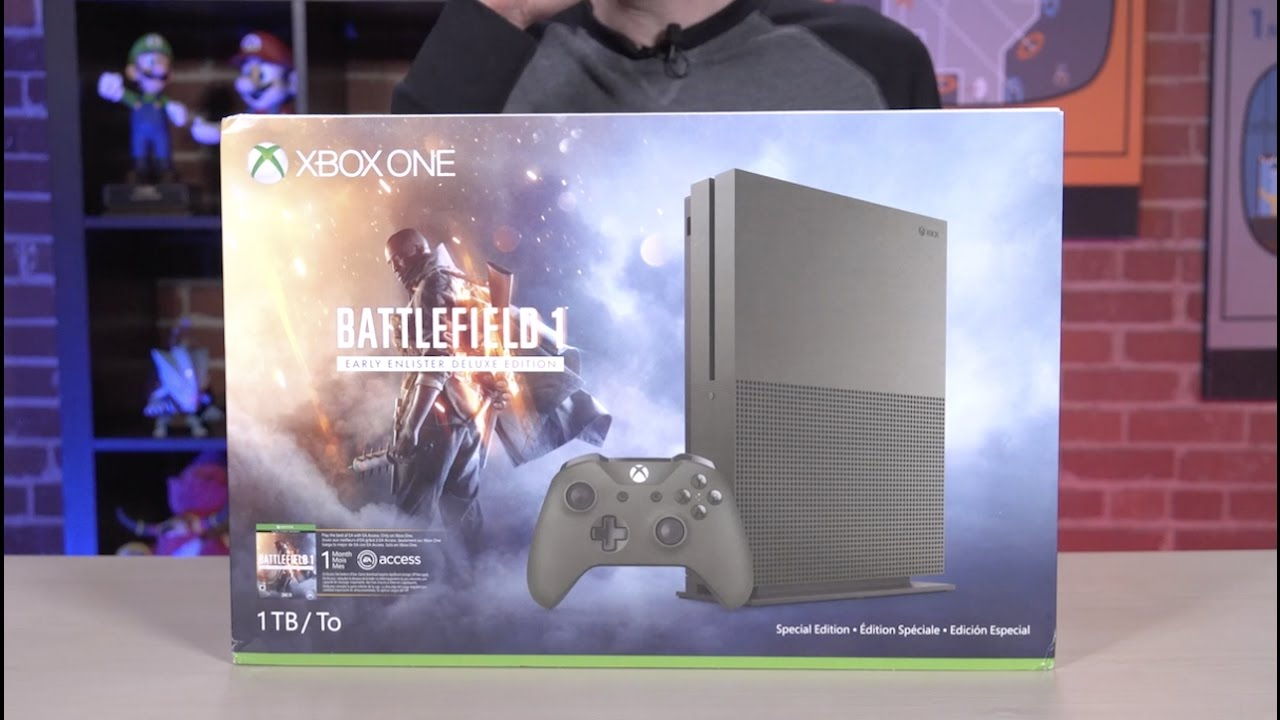 Battlefield 1 Xbox One S Console Unboxing (SPECIAL EDITION GREEN CONSOLE)