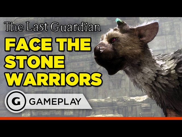 Fighting off Stone Warriors in The Last Guardian Gameplay
